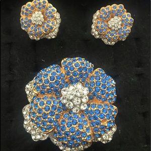 Beautiful rhinestone broach and clip earring set